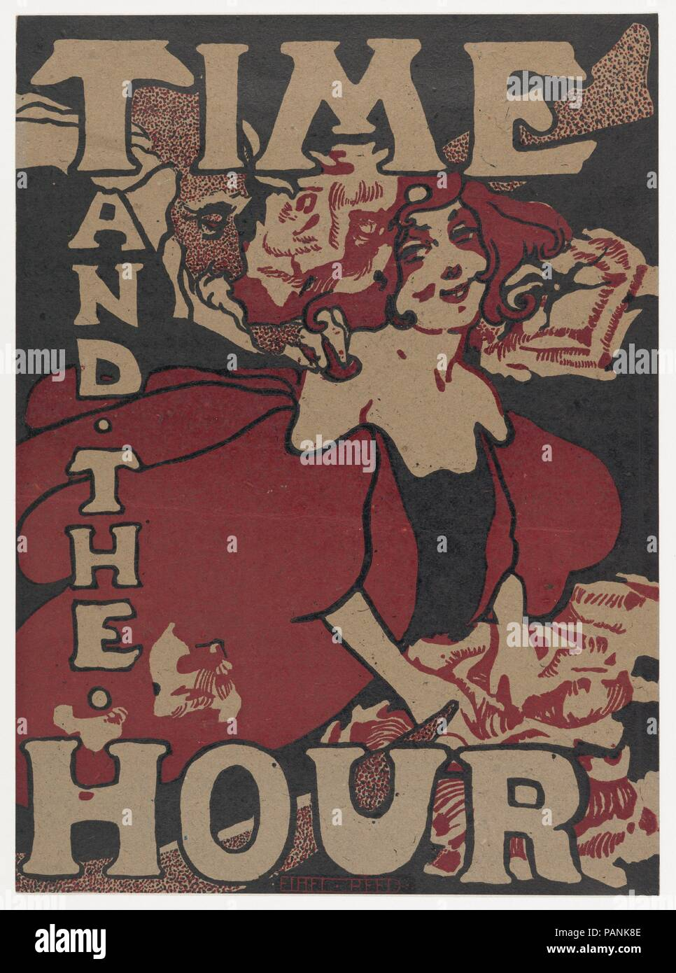 Time and the Hour. Artist: Ethel Reed (American, 1874-after 1900). Dimensions: Sheet: 18 3/8 × 13 7/16 in. (46.6 × 34.2 cm). Publisher: Time and The Hour. Date: 1896. Museum: Metropolitan Museum of Art, New York, USA. - Stock Image