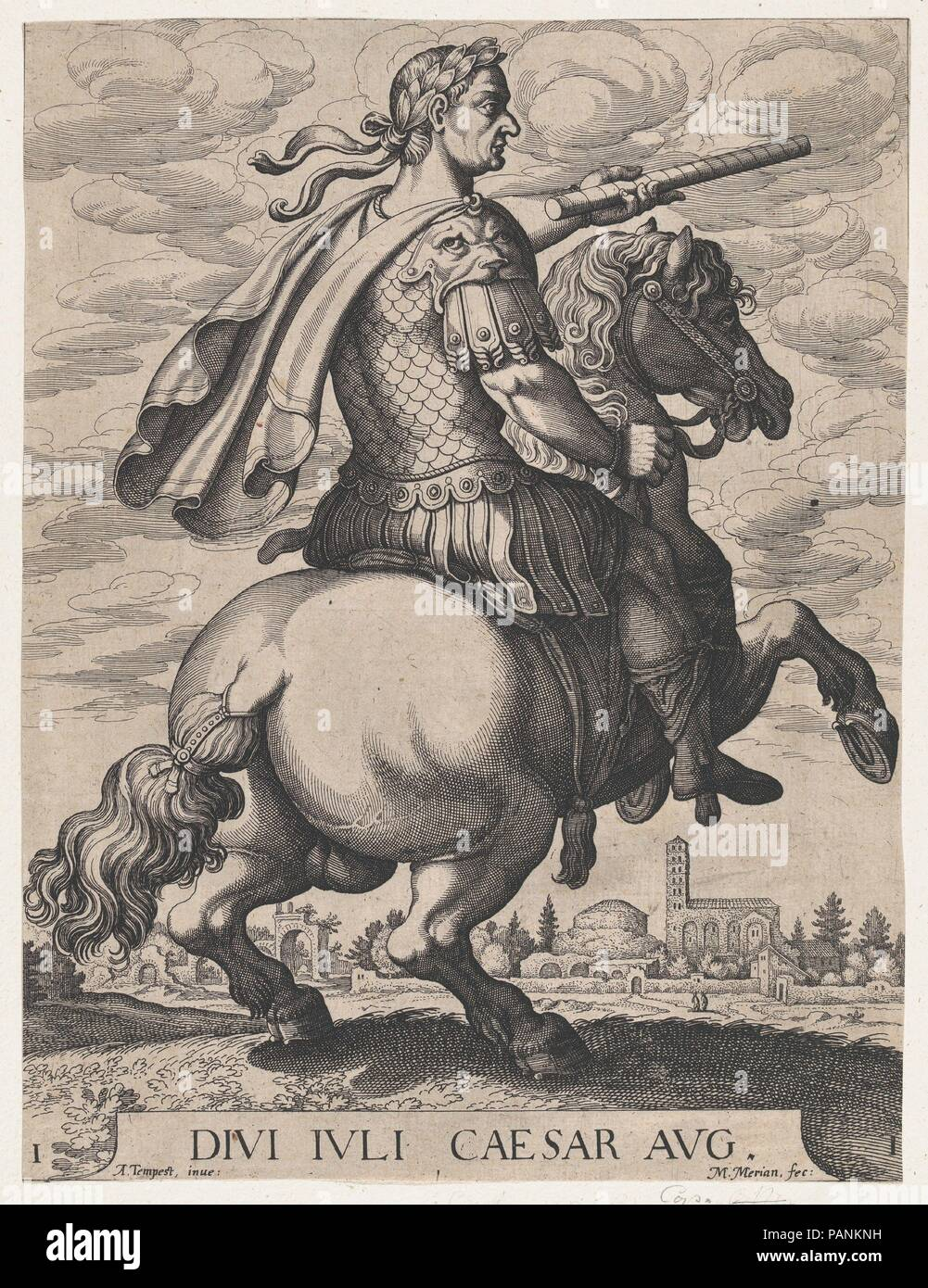 Plate 1: Emperor Julius Caesar on Horseback, from ' The First Twelve Roman Caesars', after Tempesta. Artist: Matthäus Merian the Elder (Swiss, Basel 1593-1650 Schwalbach); After Antonio Tempesta (Italian, Florence 1555-1630 Rome). Dimensions: Sheet: 11 13/16 × 8 7/8 in. (30 × 22.5 cm). Date: 1610-50. Museum: Metropolitan Museum of Art, New York, USA. Stock Photo