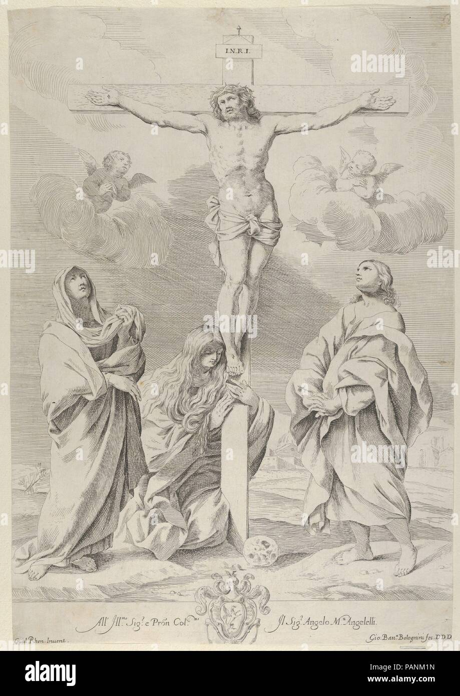 Christ on the cross, Saint John the Baptist at right, Mary Magdelene and the Virgin at left, after Reni. Artist: After Guido Reni (Italian, Bologna 1575-1642 Bologna); Engraved by Gian Battista Bolognini (Italian, Bologna 1611-1688 Bologna). Dimensions: Sheet (Trimmed): 16 5/16 × 11 1/4 in. (41.4 × 28.6 cm). Date: ca. 1640-88.  After a painting by Reni which at the time was in the church of San Domenico in Bologna.  Verso is not visible as print is laid to another sheet of paper. Museum: Metropolitan Museum of Art, New York, USA. - Stock Image