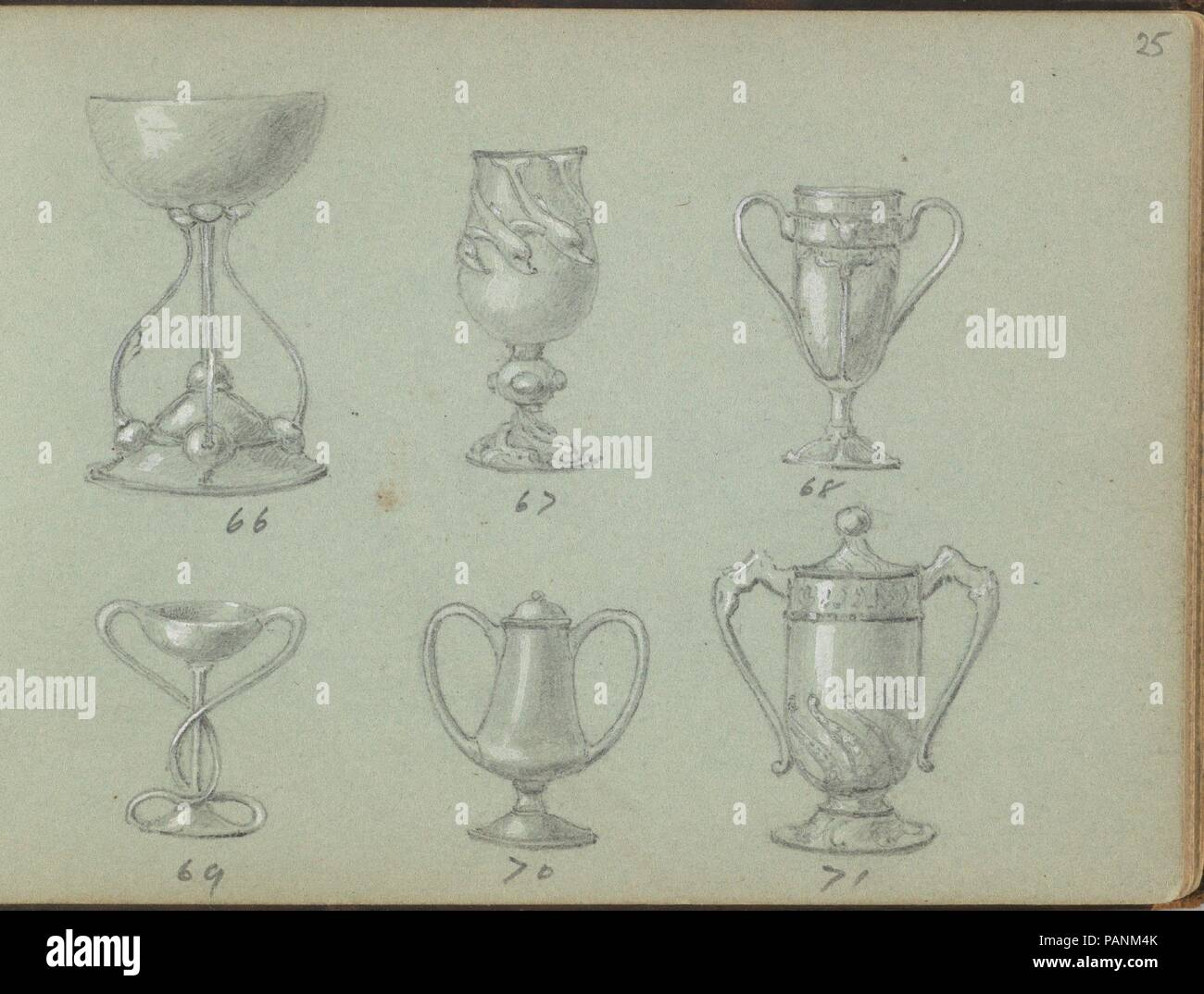 Six Designs for Drinking Vessels. Artist: Edgar Gilstrap Simpson (British, 1867-1945 (presumed)). Dimensions: sheet: 3 1/2 x 5 in. (8.9 x 12.7 cm). Date: 1899.  Six designs for drinking vessels, presented in two rows. The upper row shows three different designs for cups, of which the second is decorated by dolphins. The lower rwo shows three designs for cups with two ears and the last two also have a lid. Museum: Metropolitan Museum of Art, New York, USA. - Stock Image