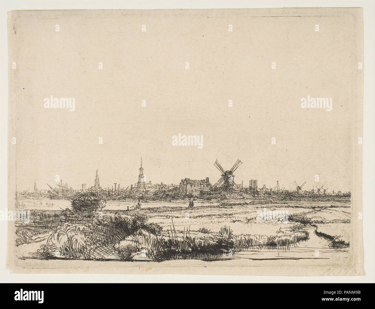 View of Amsterdam from the Northwest. Artist: Rembrandt (Rembrandt van Rijn) (Dutch, Leiden 1606-1669 Amsterdam). Dimensions: Plate: 4 7/16 x 6 in. (11.2 x 15.2 cm)  Sheet: 4 3/4 x 6 1/4 in. (12 x 15.8 cm). Date: ca. 1640. Museum: Metropolitan Museum of Art, New York, USA. - Stock Image