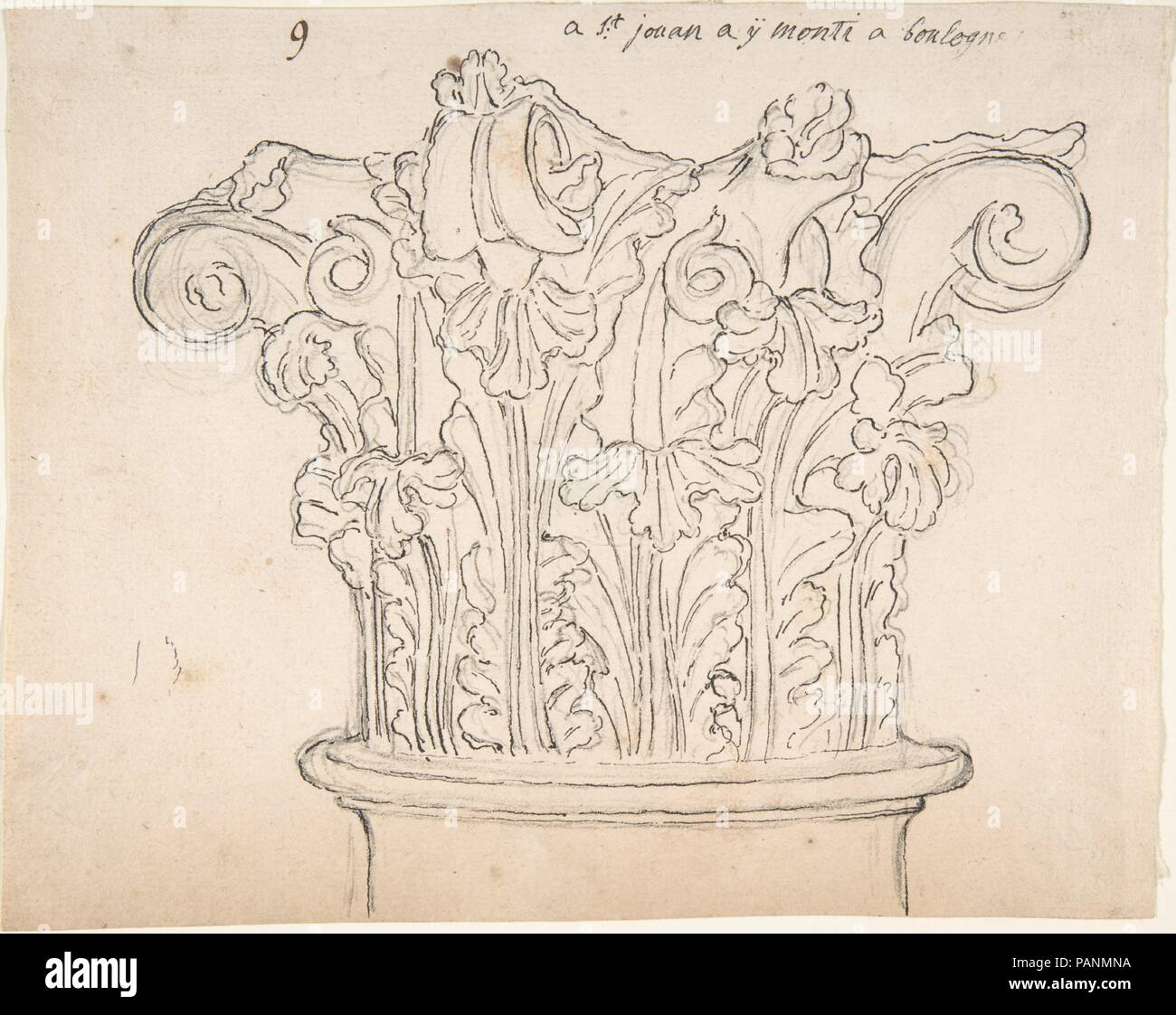 Capital with Acanthus Leaves. Artist: Anonymous, French, 18th century. Dimensions: 6 3/8 x 8 in. (16.2 x 20.3 cm). Date: 18th century. Museum: Metropolitan Museum of Art, New York, USA. - Stock Image