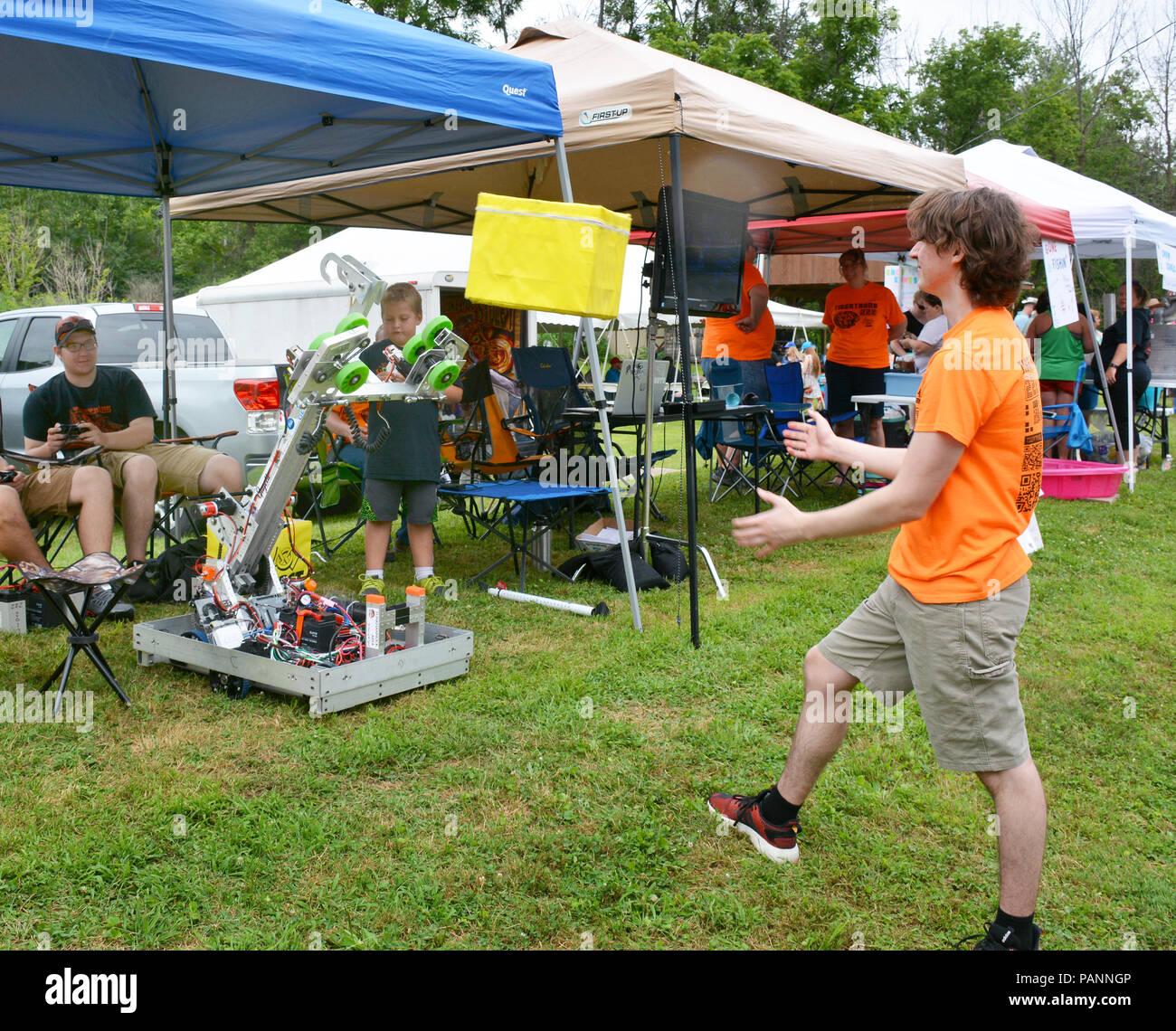 The Tigertrons Robotics Team demonstrate fun robotics at the 14th Annual Tunkhannock River Day 2018 at Riverside Park Tunkhannock  Pennsylvania USA Stock Photo
