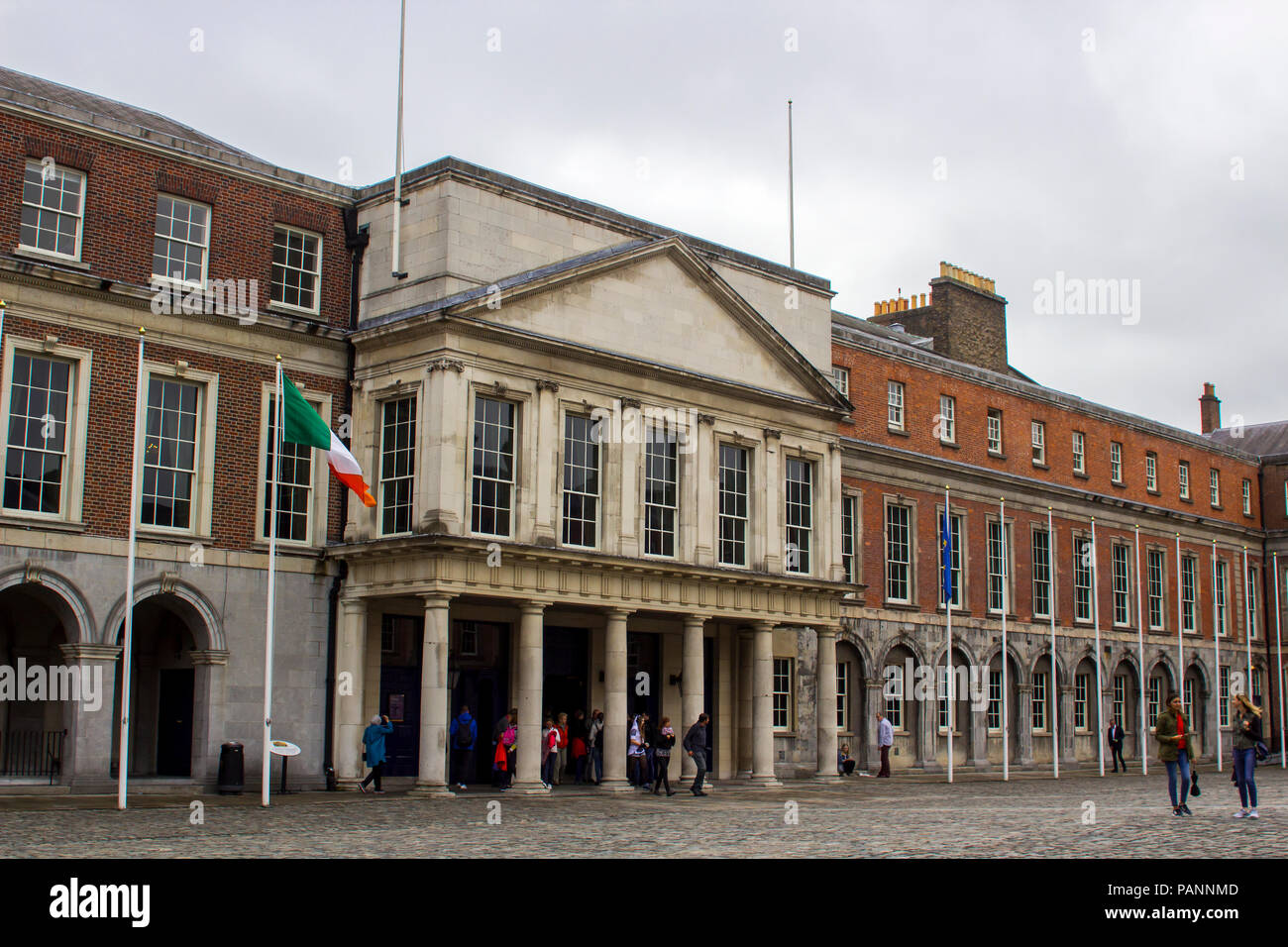 The entrance to the state apartments in the Upper Courtyard of Dublin Castle Ireland - Stock Image