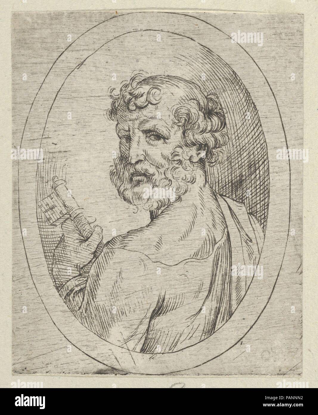 Saint Peter seen from behind, turning to face outwards and holding a ...