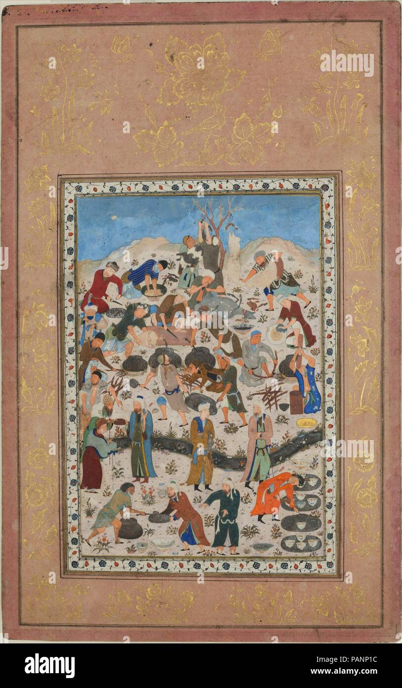 'Preparation for a Feast', Folio from a Divan of Jami. Dimensions: Painting: H. 6 15/16 in. (17.6 cm)   W. 4 3/4 in. (12.1 cm)  Page: H. 11 1/8 in. (28.2 cm)   W. 7 in. (17.8 cm)  Mat: H. 19 1/4 in. (48.9 cm)   W. 14 1/4 in. (36.2 cm). Date: late 15th century.  This painting depicts in a lively fashion the many tasks involved in the preparation of a feast. Such realistically observed details of menial activities, albeit for a grand occasion, exemplify the broadening of subject matter that evolved in the Herat school of painting in the latter part of the fifteenth century under the influence of - Stock Image