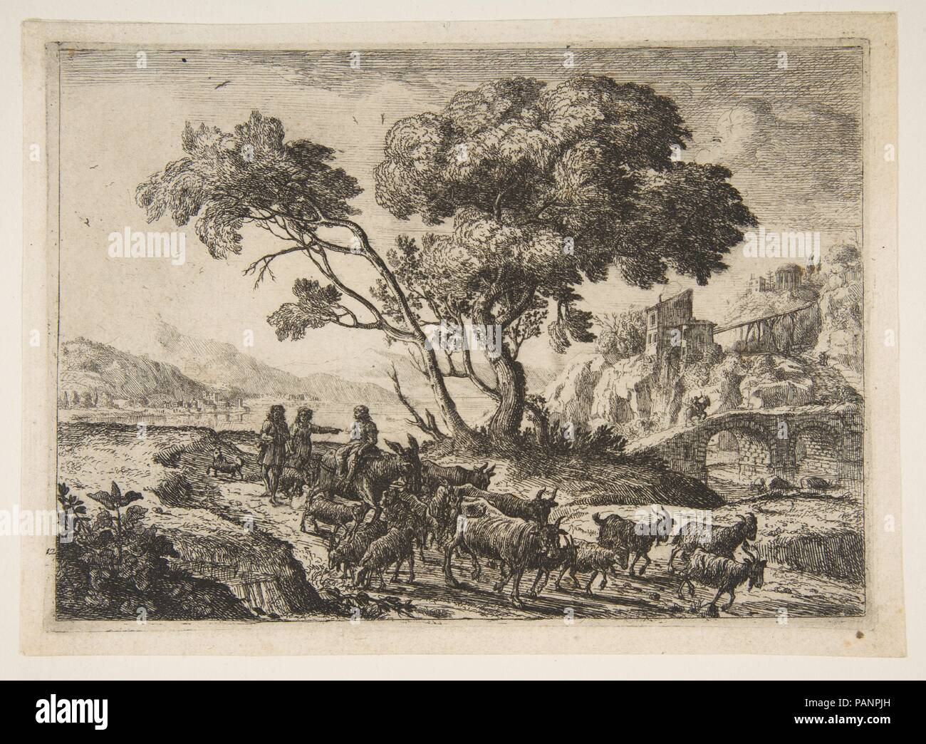 Departure for the Fields. Artist: Claude Lorrain (Claude Gellée) (French, Chamagne 1604/5?-1682 Rome). Dimensions: sheet: 5 1/2 x 7 5/8 in. (14 x 19.3 cm)  plate: 5 1/16 x 7 3/16 in. (12.8 x 18.2 cm). Date: ca. 1638-41. Museum: Metropolitan Museum of Art, New York, USA. - Stock Image