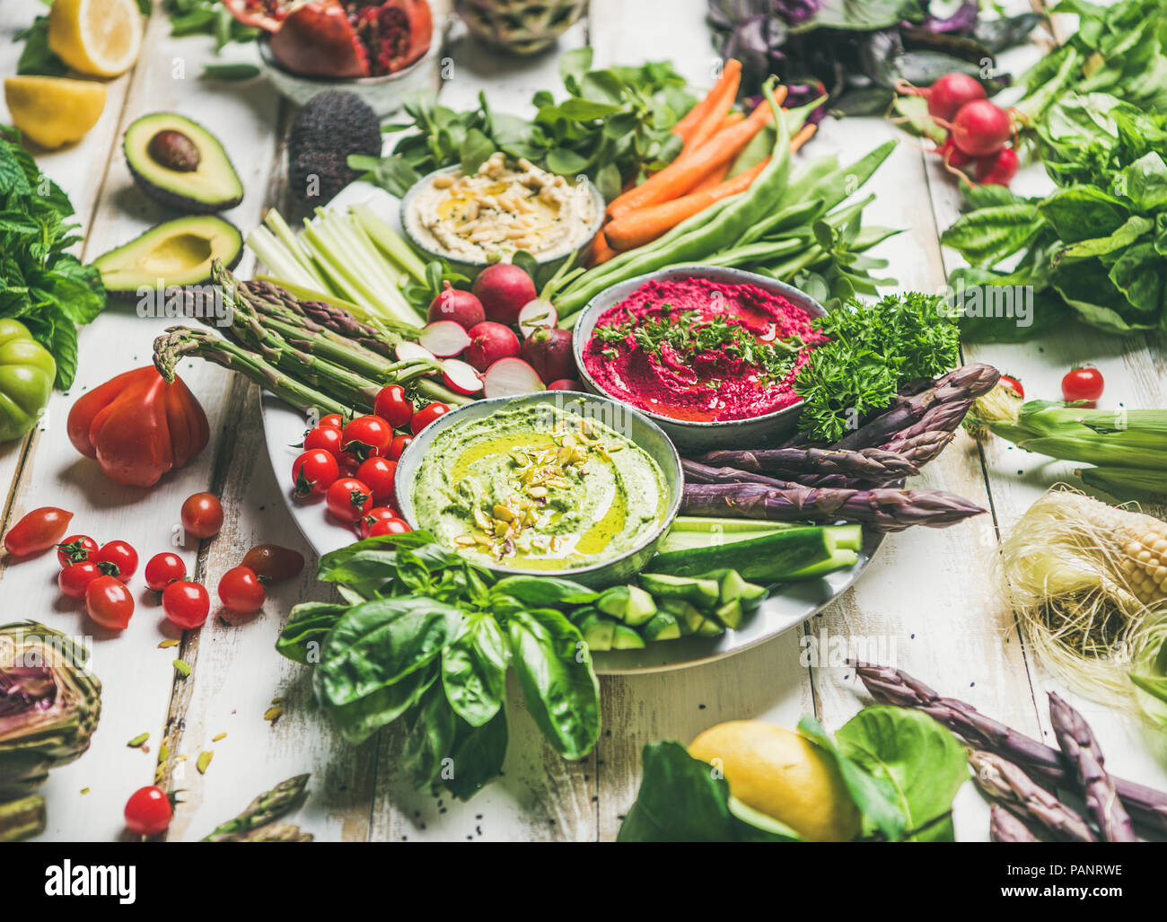 Healthy raw summer vegan snack plate for vegan party - Stock Image