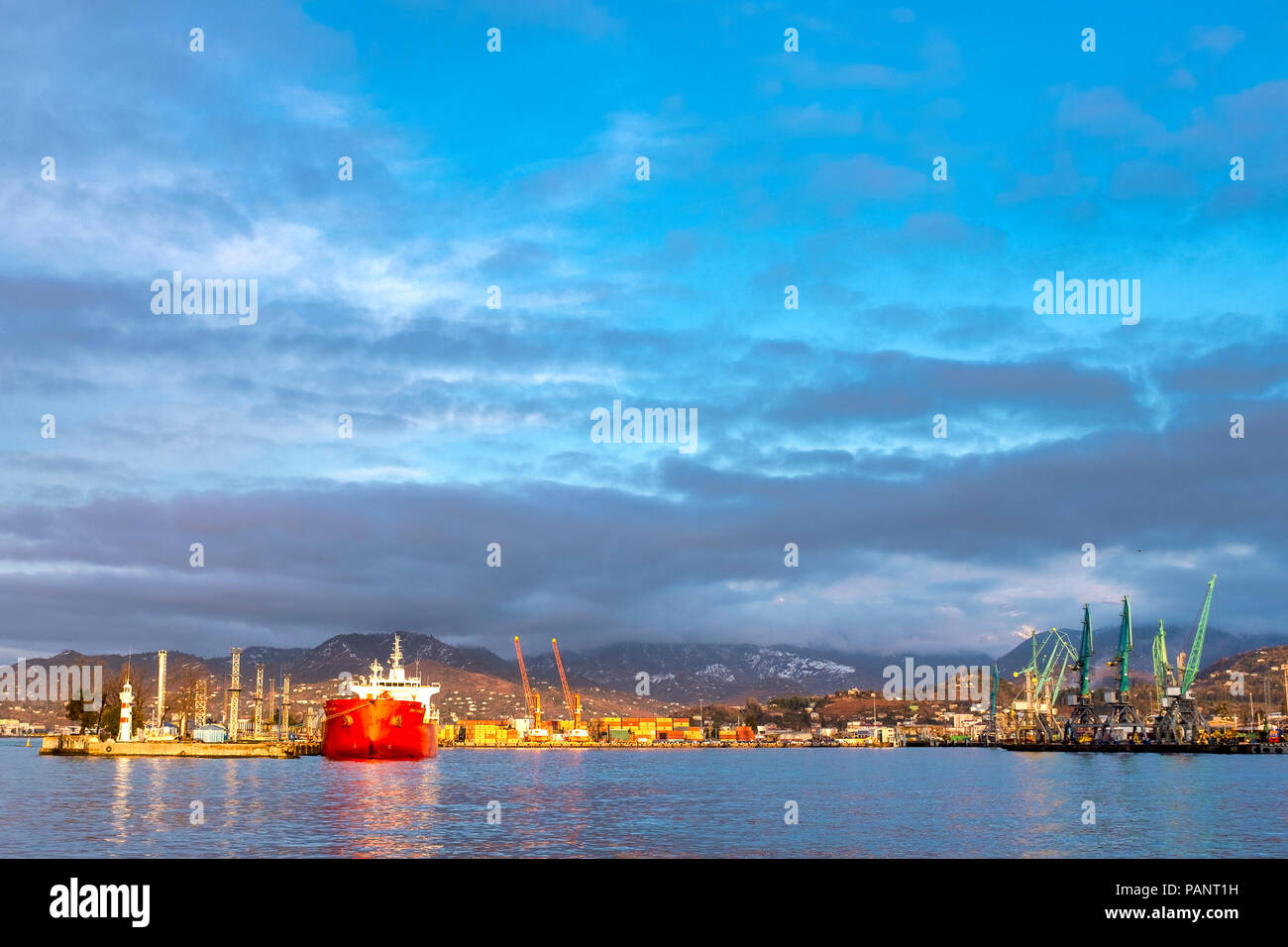 Batumi sea port at sunset, Batumi, Georgia - Stock Image