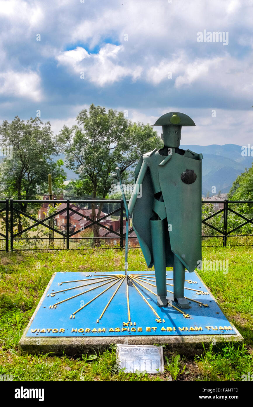 Pilgrim statue on the Camino Primitivo, Tineo, Asturias, Spain - Stock Image