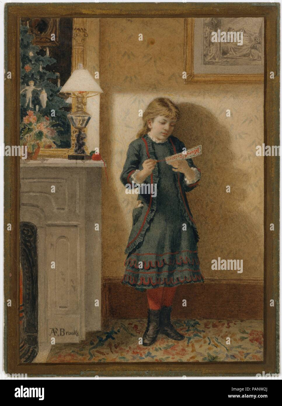 Child with Christmas Card. Artist: Alden Finney Brooks (1840-1932 ...