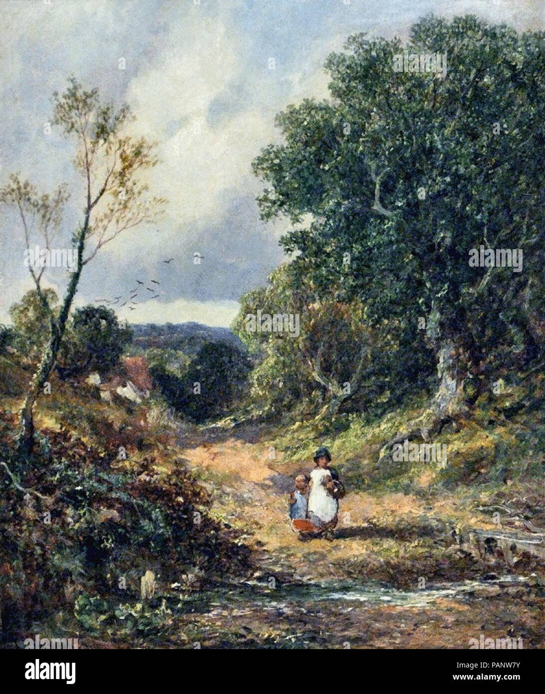 Meadows  James Edwin - Children in a Country Lane - Stock Image