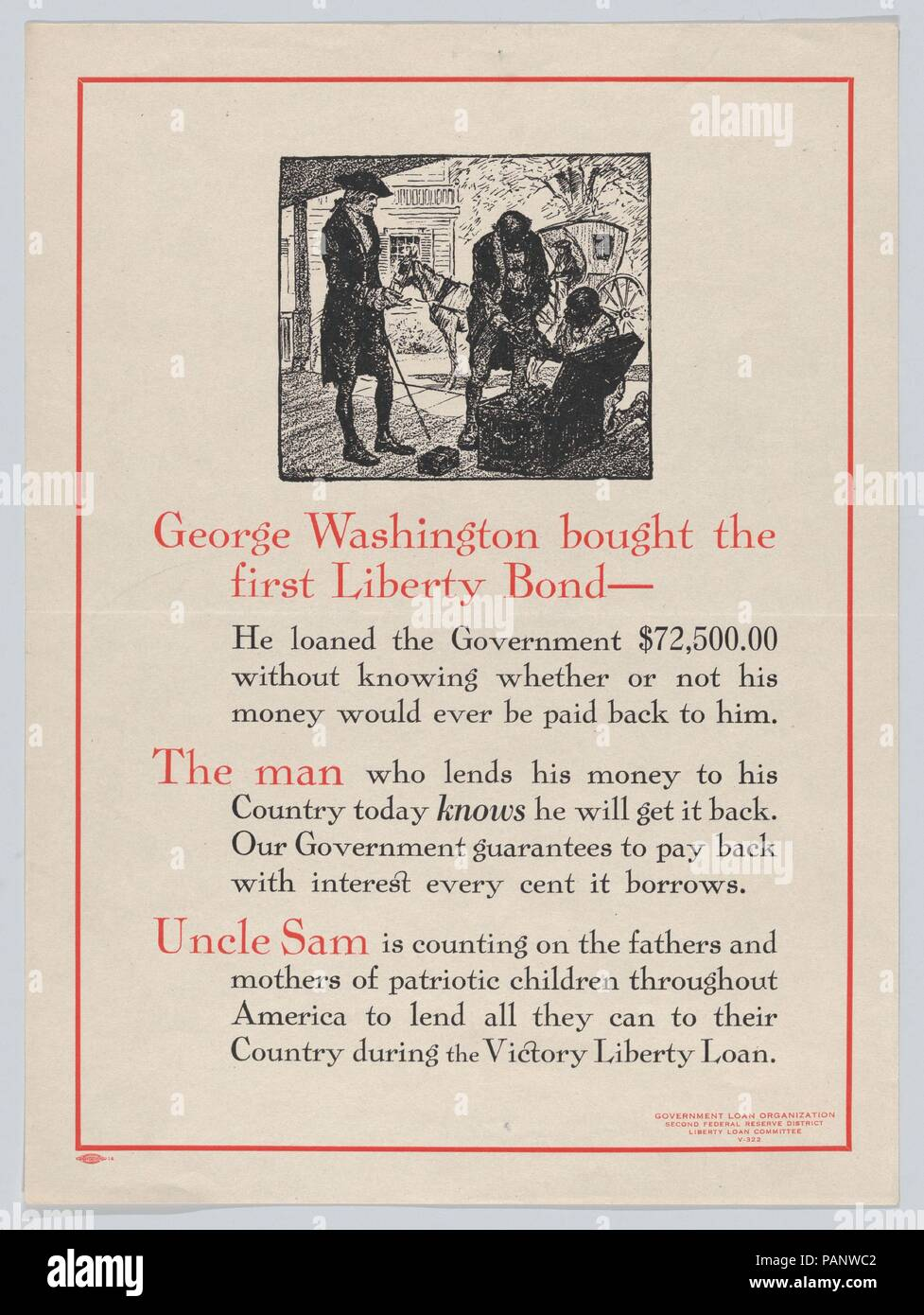 George Washington bought the first Liberty Bond. Dimensions: Sheet: 12 3/8 × 9 5/16 in. (31.4 × 23.6 cm). Publisher: Issued by Liberty Loan Committee. Date: 1919.  World War I poster. Museum: Metropolitan Museum of Art, New York, USA. - Stock Image