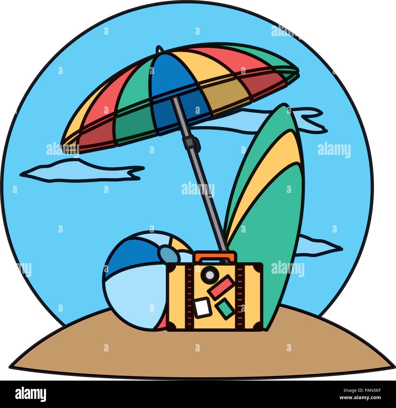 Color Open Umbrella With Beach Ball And Surfboard Stock Vector Art