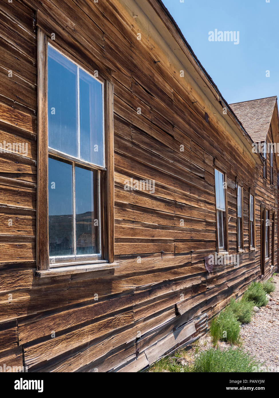 Windows and wood, Bodie ghost town, Bodie State Historic Park, California. - Stock Image