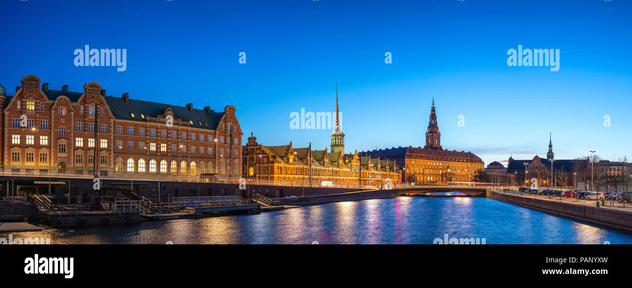 Copenhagen night city skyline panorama at Copenhagen Harbour, Copenhagen Denmark - Stock Image