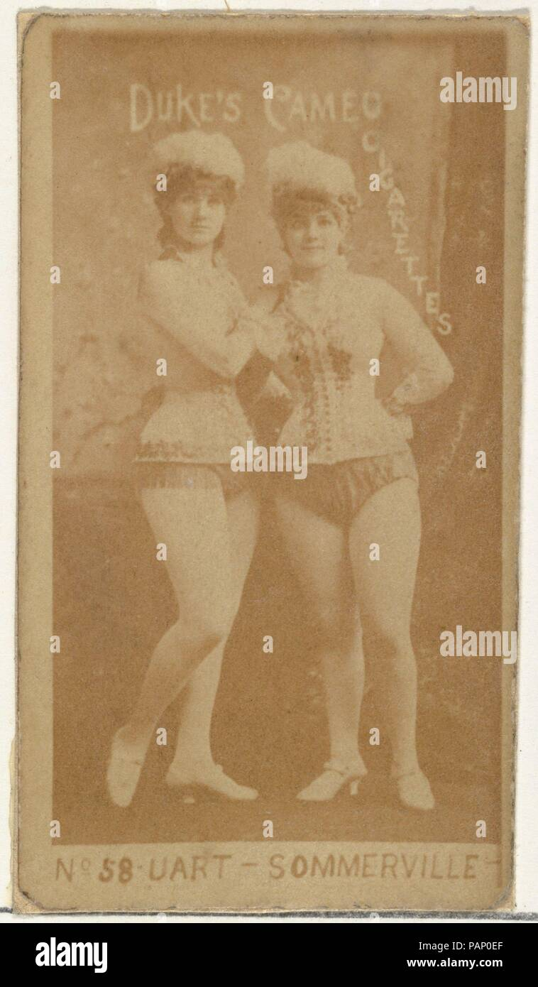 """Card Number 58, Uart and Sommerville, from the Actors and Actresses series (N145-4) issued by Duke Sons & Co. to promote Cameo Cigarettes. Dimensions: Sheet: 2 11/16 × 1 3/8 in. (6.8 × 3.5 cm). Publisher: Issued by W. Duke, Sons & Co. (New York and Durham, N.C.). Date: 1880s.  Trade cards from the set """"Actors and Actresses"""" (N145-4), issued in the 1880s by W. Duke Sons & Co. to promote Cameo Cigarettes. There are eight subsets of the N145 series. Various subsets sport different card designs and also promote different tobacco brands represented by W. Duke Sons & Company. This card is from the f Stock Photo"""