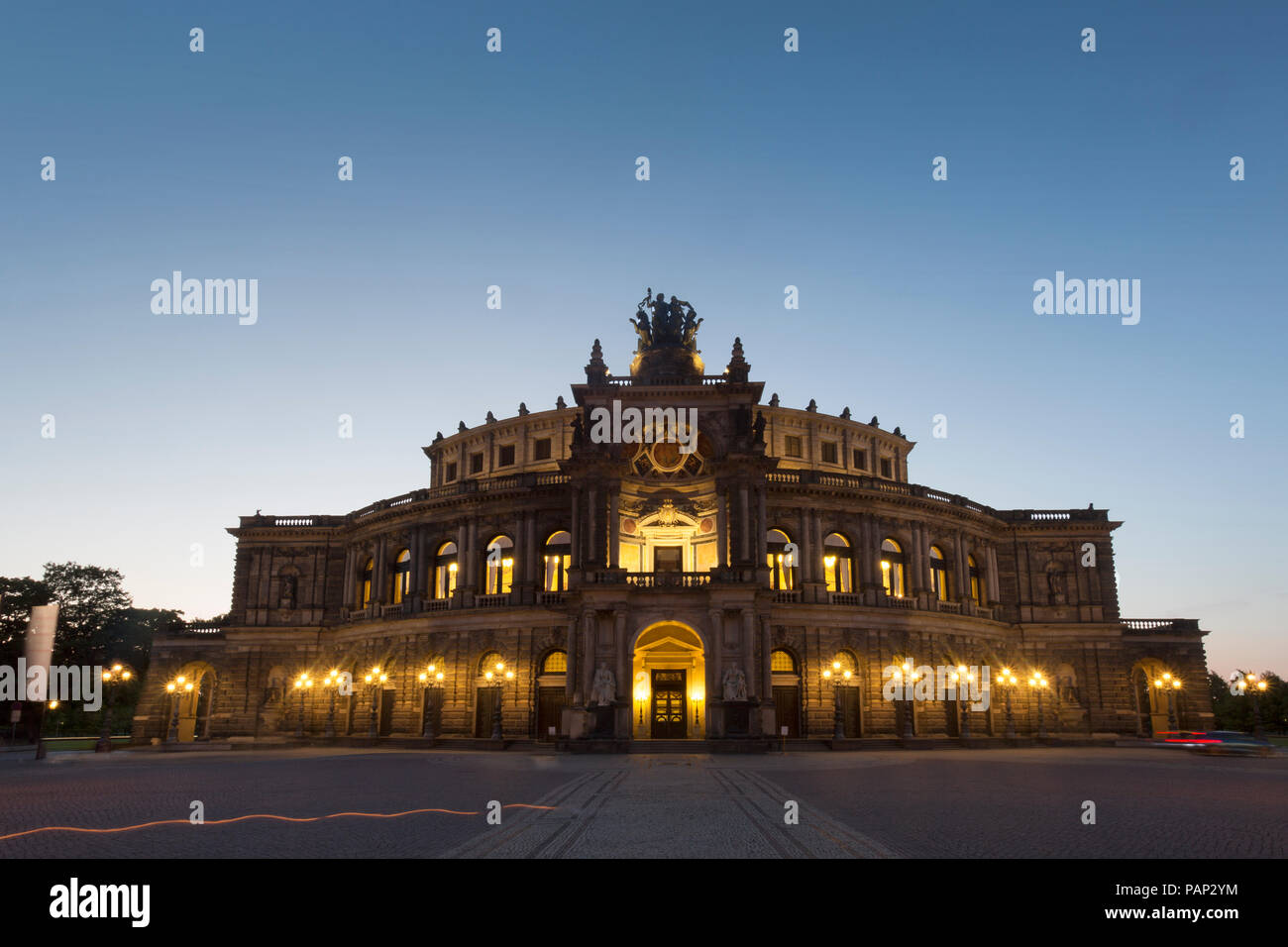 Germany, Dresden, view to Semperoper at blue hour - Stock Image