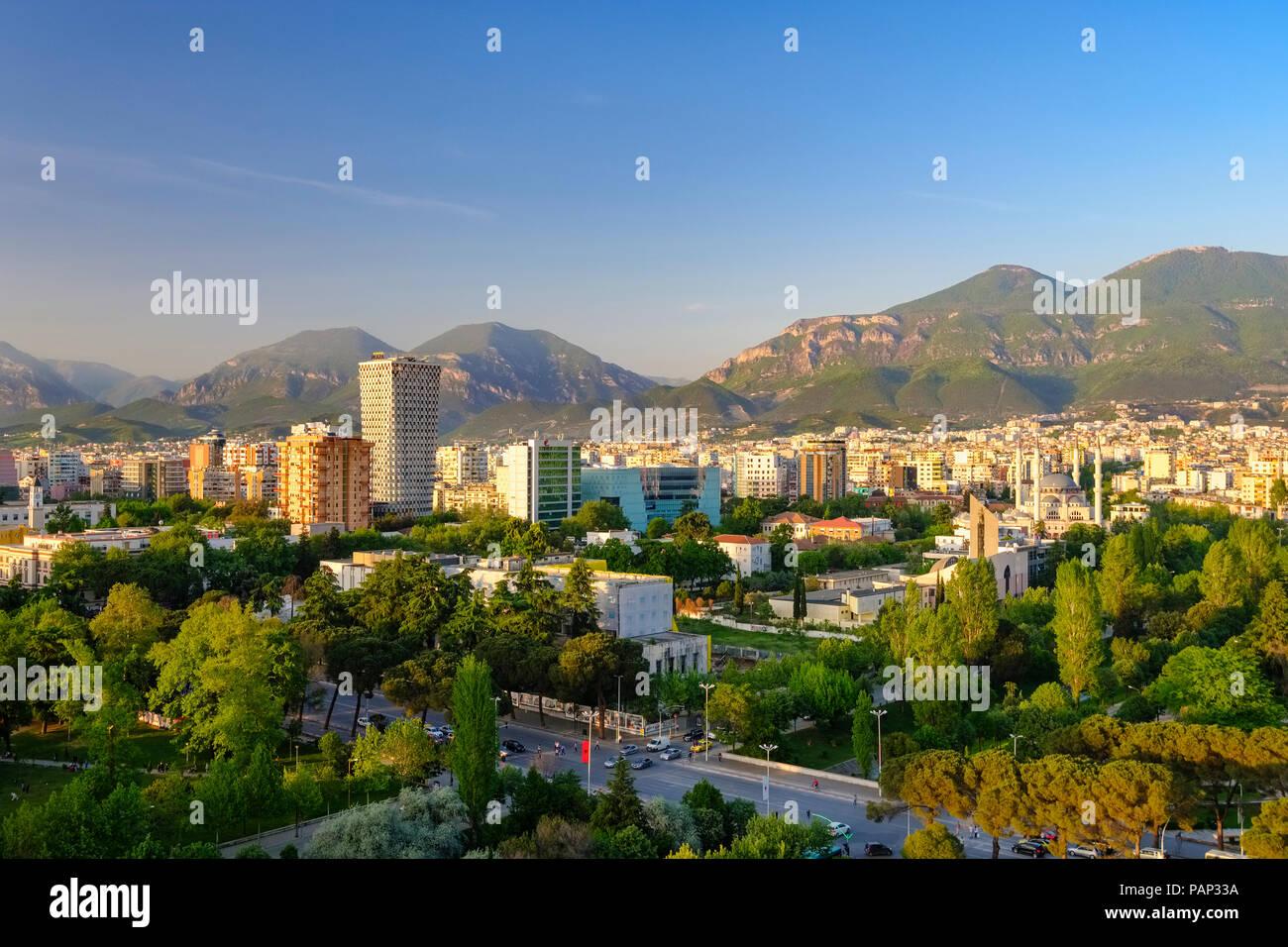 Albania, Tirana, City center, TID Tower and Namazgah Mosque - Stock Image