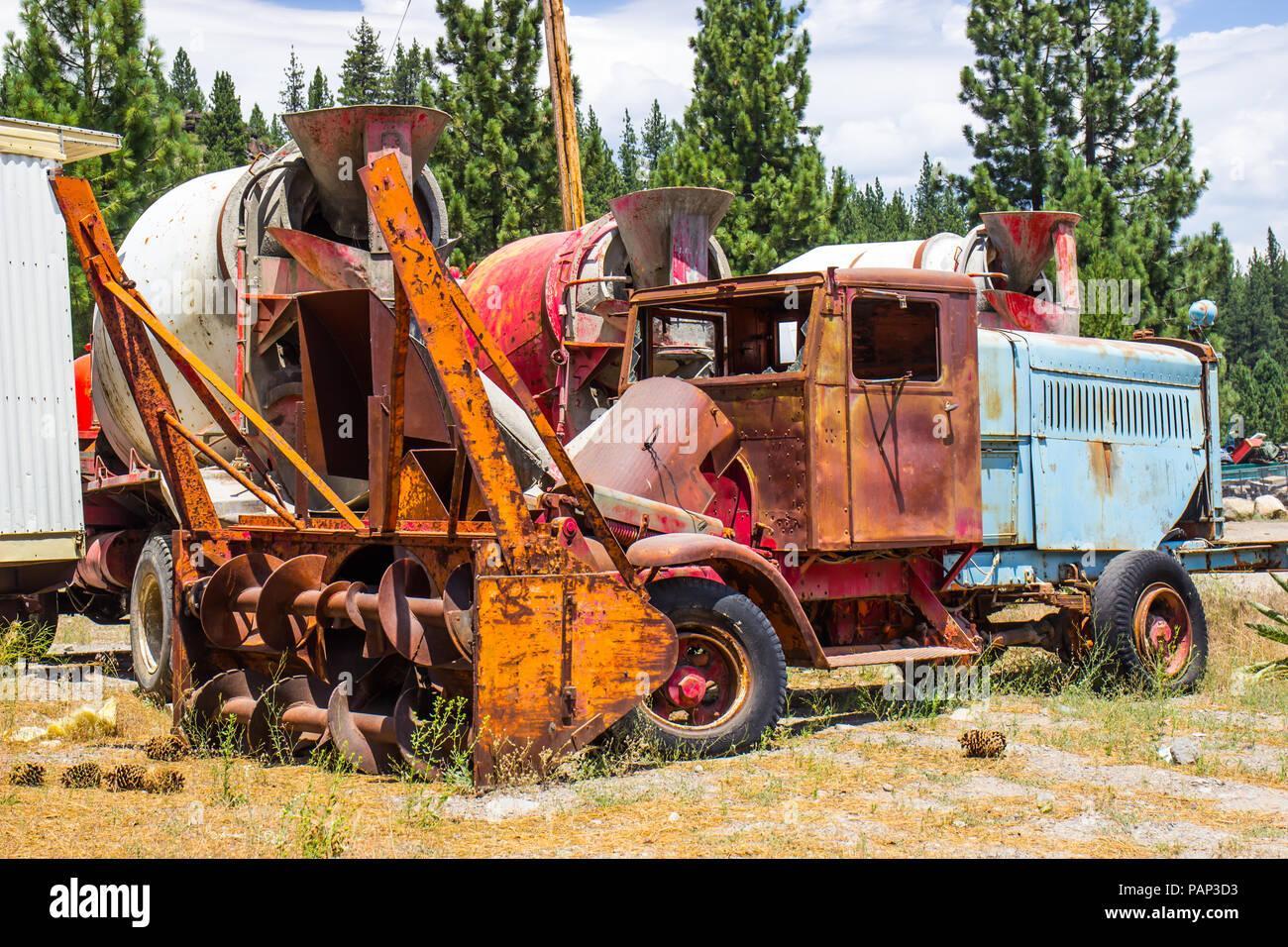 Vintage Snow Blower Truck In Salvage Yard Stock Photo