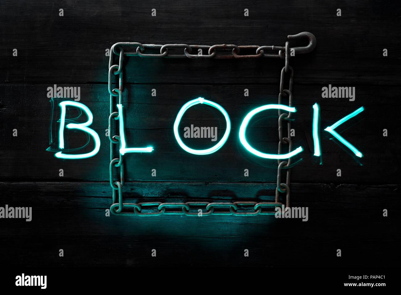 Symbol for a blockchain - Stock Image
