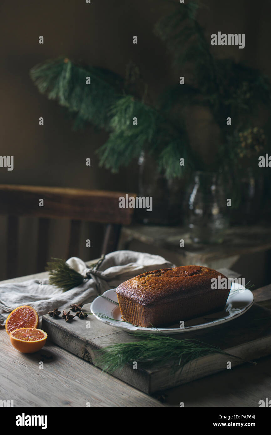 Home-baked Christmas cake on plate - Stock Image