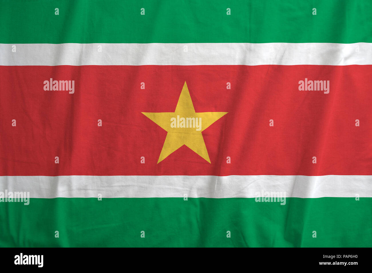 Fabric texture of the flag of Suriname. - Stock Image