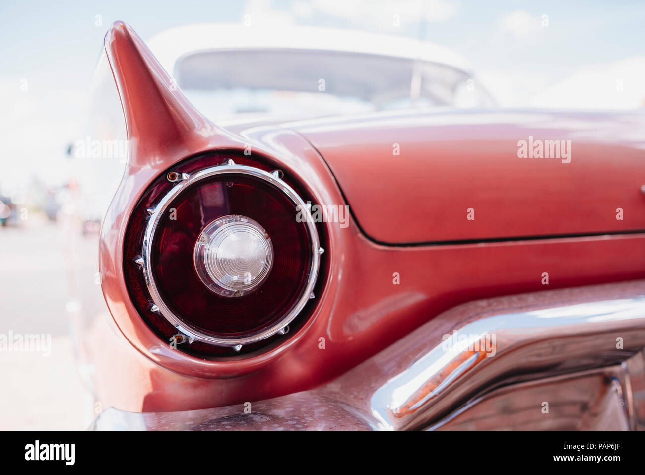 USA, Arizona, Williams, rear view of a vintage pink car at Route 66 Stock Photo