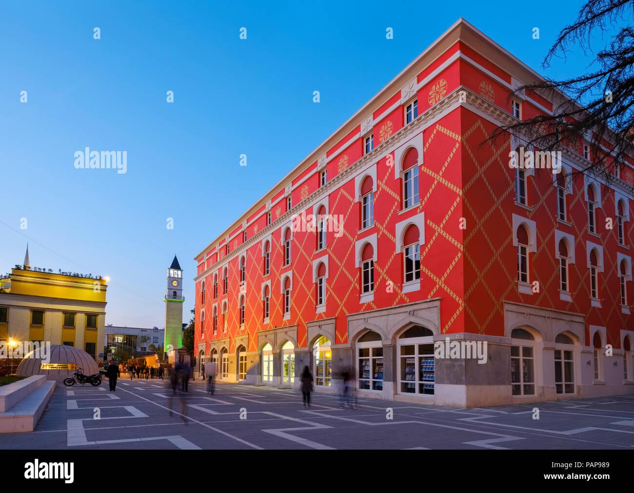 Albania, Tirana, Clock tower and Minstry of Urban Development, blue hour - Stock Image