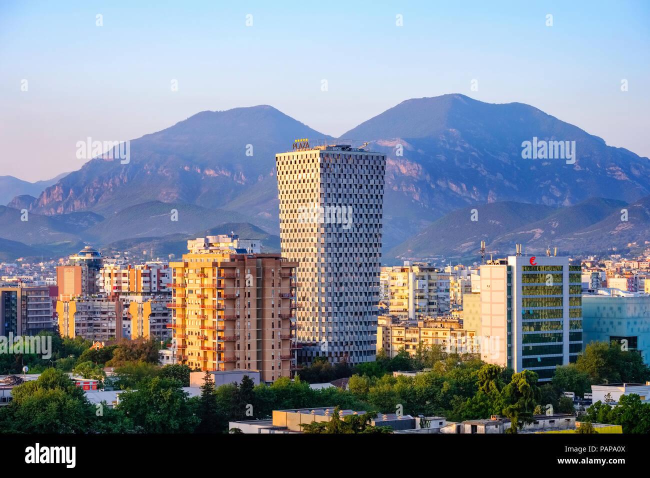 Albania, Tirana, City center with TID Tower - Stock Image