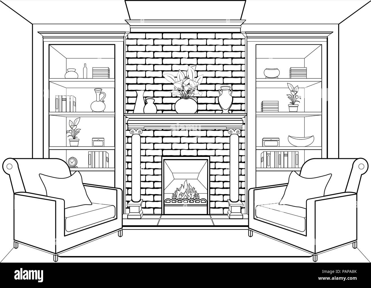 Room with fireplace outline, flat interior, contour linear ...