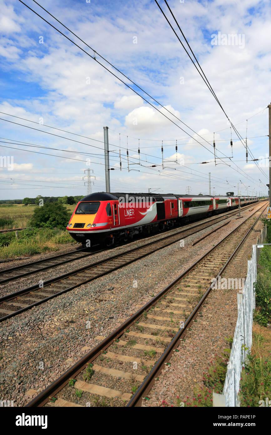 LNER train 43305, London and North Eastern Railway, East Coast Main Line Railway, Peterborough, Cambridgeshire, England, UK - Stock Image