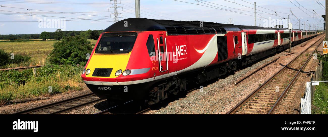 LNER train 43320, London and North Eastern Railway, East Coast Main Line Railway, Peterborough, Cambridgeshire, England, UK - Stock Image