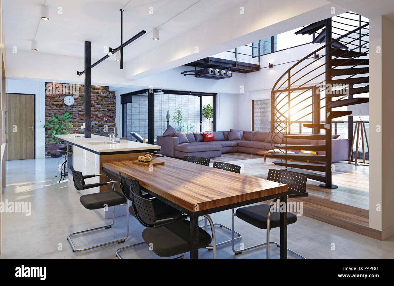 Luxury Modern Loft Apartment Interior 3d Rendering Concept Stock Photo Alamy