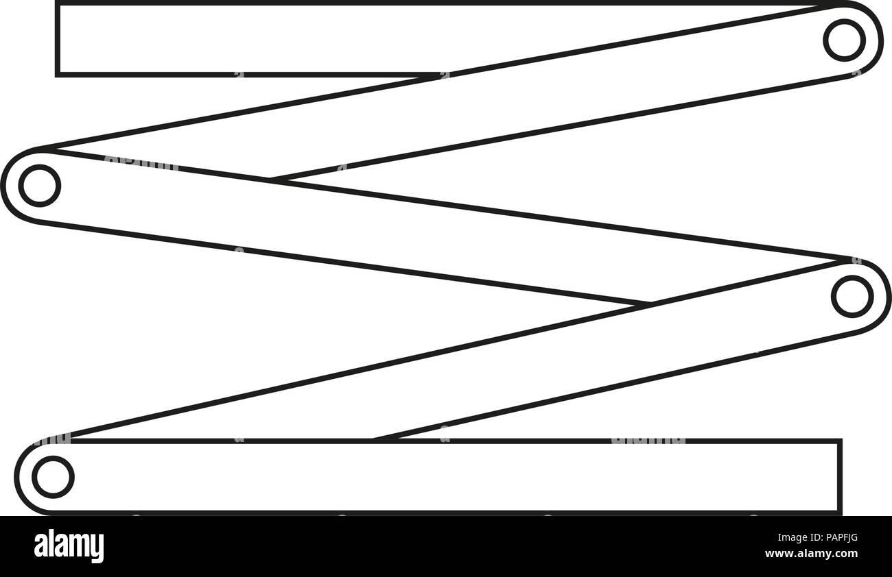 Line art black and white folding ruler - Stock Image