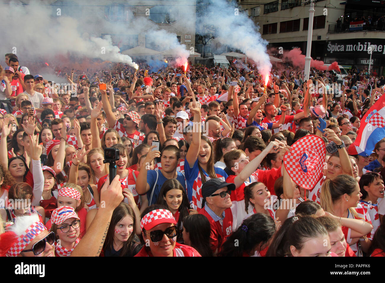 ZAGREB, CROATIA - JULY 15 Croatian football fans on the Ban Jelacic Square, watching 2018 FIFA WORLD CUP RUSSIA match France vs Croatia on July 15, 20 Stock Photo