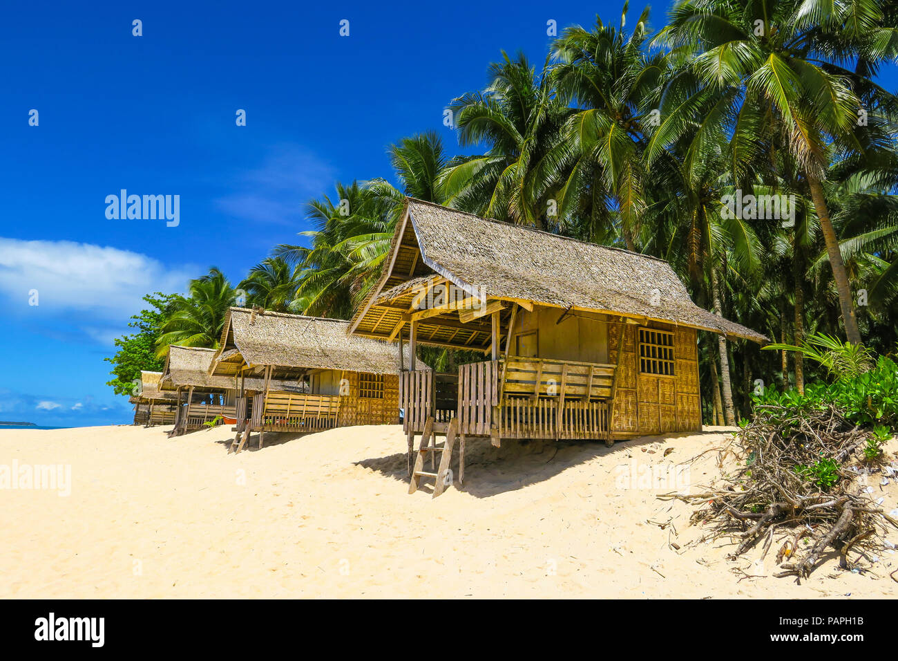 Tropical Beach Huts: Bamboo Beach Huts In Tropical Paradise With Palm Trees And