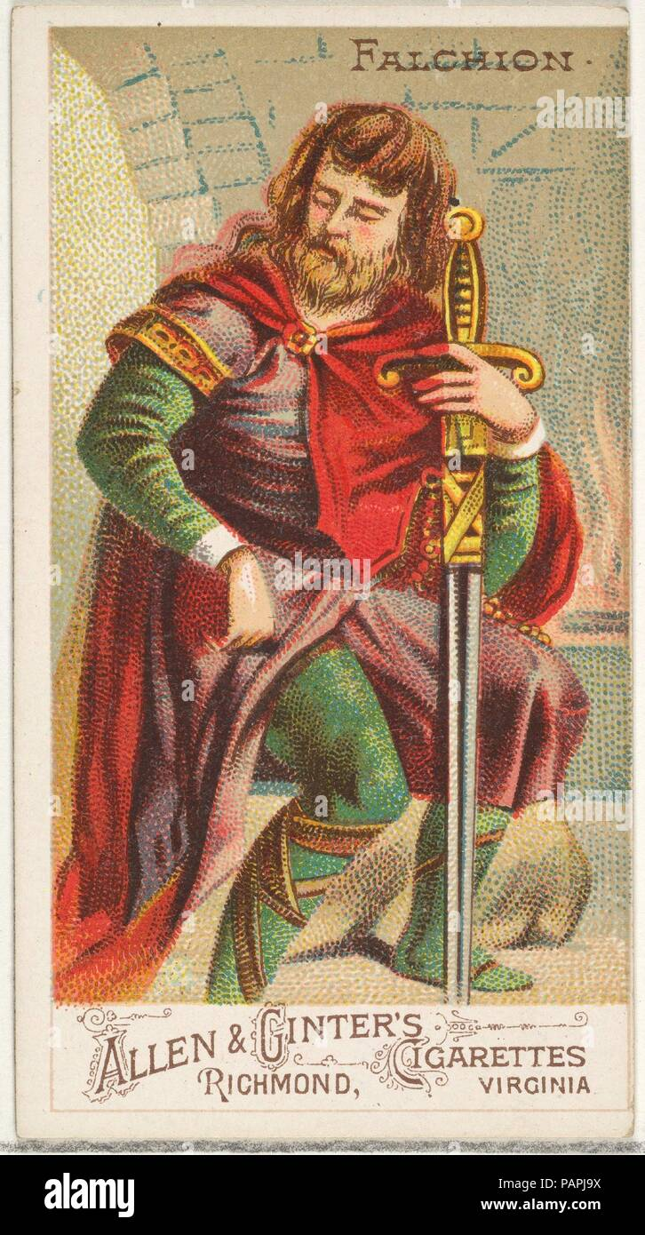 Falchion From The Arms Of All Nations Series N3 For Allen Ginter Cigarettes Brands Dimensions Sheet 2 3 4 X 1 In 7 38 Cm