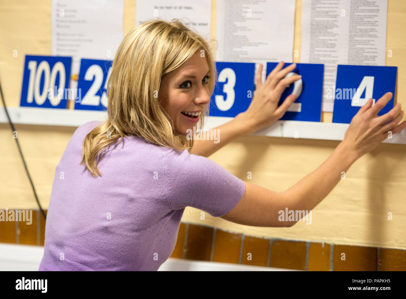 Photograph Of Rachel Riley Co Presenter Of Channel4 S Countdown And 8 Out Of 10 Cats Shown Here With The Numbers Used In The Tv Programme Stock Photo Alamy