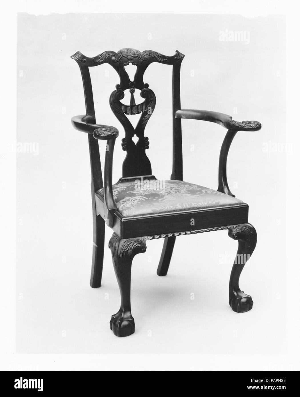 Armchair. Culture: American. Dimensions: 39 1/8 x 20 7/8 x 22 in. (99.4 x 53 x 55.9 cm). Date: 1755-75. Museum: Metropolitan Museum of Art, New York, USA. - Stock Image