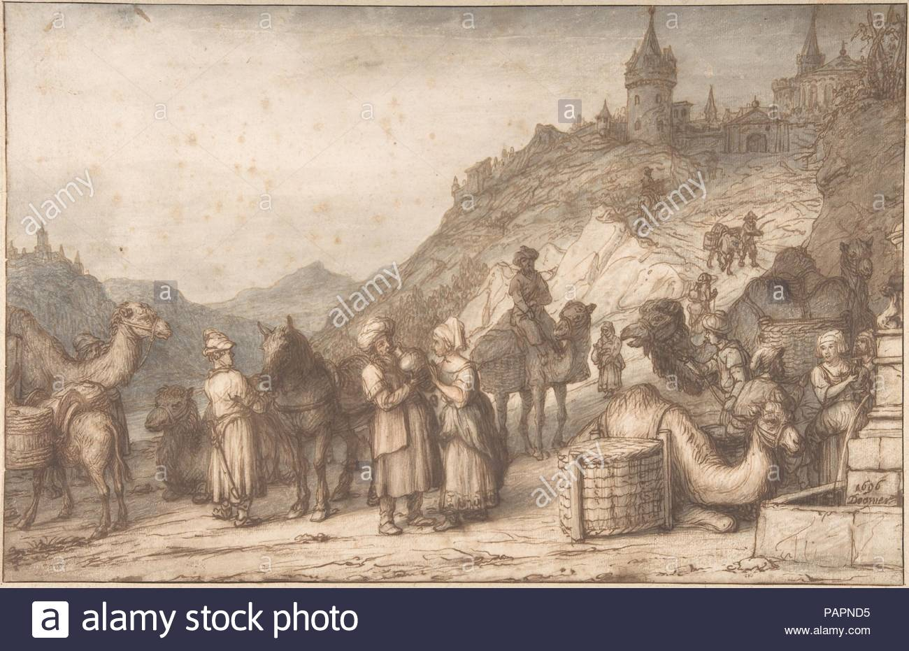 Artist: Lambert Doomer (Dutch, Amsterdam 1624-1700 Amsterdam). Dimensions:  sheet: 10 3/8 x 16 in. (26.3 x 40.6 cm). Date: 1696.