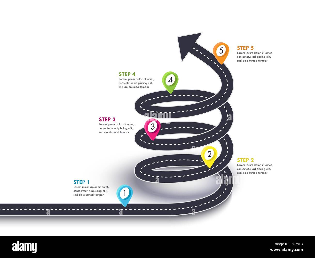 Spiral Arrow Road to Success. Road trip and Journey route with pin pointer and place for your data. Winding road on a white background. Vector EPS 10 - Stock Vector