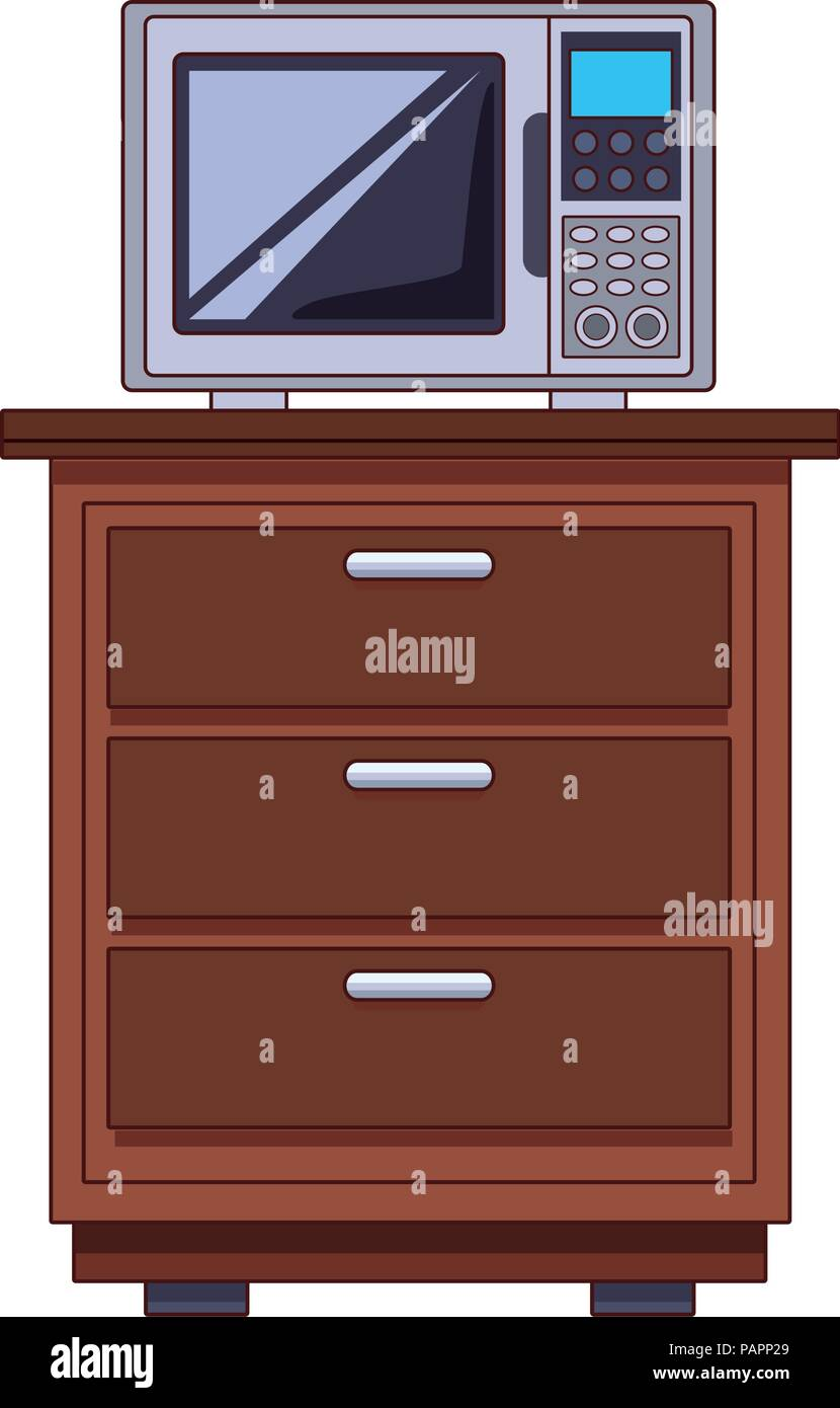 Microwave on cabinet Stock Vector