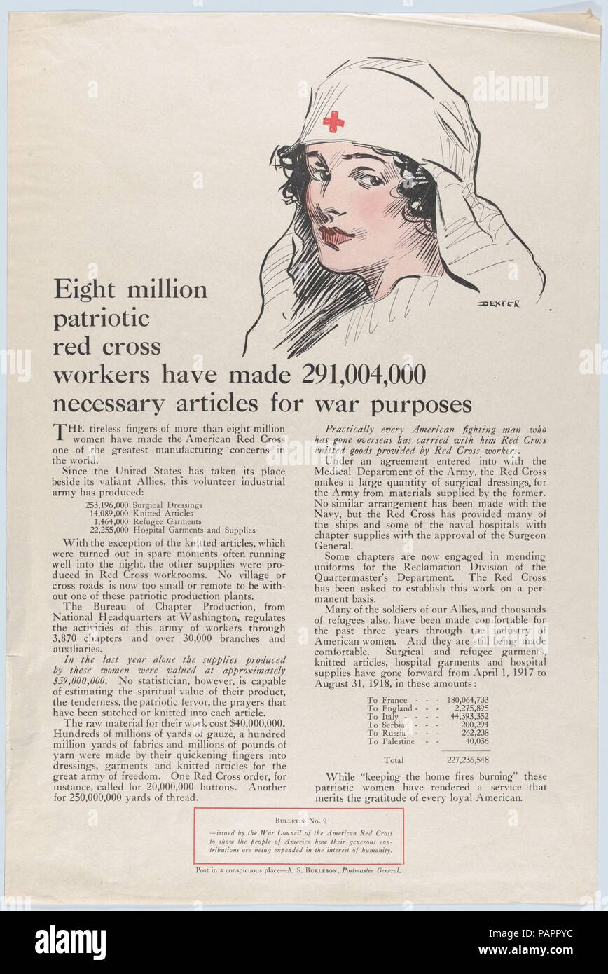 Eight million patriotic Red Cross workers. Artist: Possibly by Wilson C. Dexter (American, 1881-1921 New York). Dimensions: Sheet: 21 × 14 in. (53.4 × 35.6 cm). Publisher: Issued by War Council of the American Red Cross. Date: ca. 1917-18.  World War I poster. Museum: Metropolitan Museum of Art, New York, USA. - Stock Image