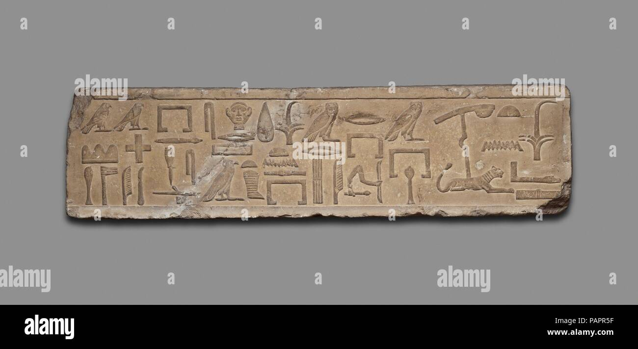 Lintel block from the false door of Mery's chapel. Dimensions: L. 90.2 cm (35 1/2 in.). Dynasty: Dynasty 4. Date: ca. 2575-2520 B.C..  This portion of a lintel block above gives some of Mery's priestly and administrative titles. His wife and child are depicted in another relief (X.179). Museum: Metropolitan Museum of Art, New York, USA. - Stock Image