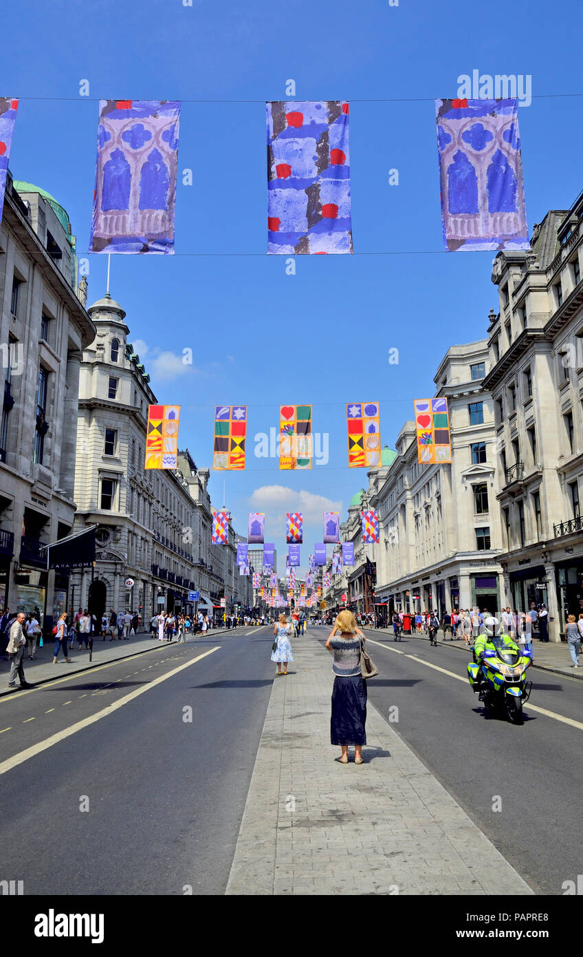 Banners advertising the 250th Royal Academy Summer Exhibition hanging in Regent Street, London, England, UK. 2018 - Stock Image