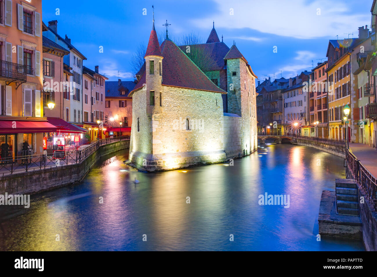 Night Annecy, France Stock Photo