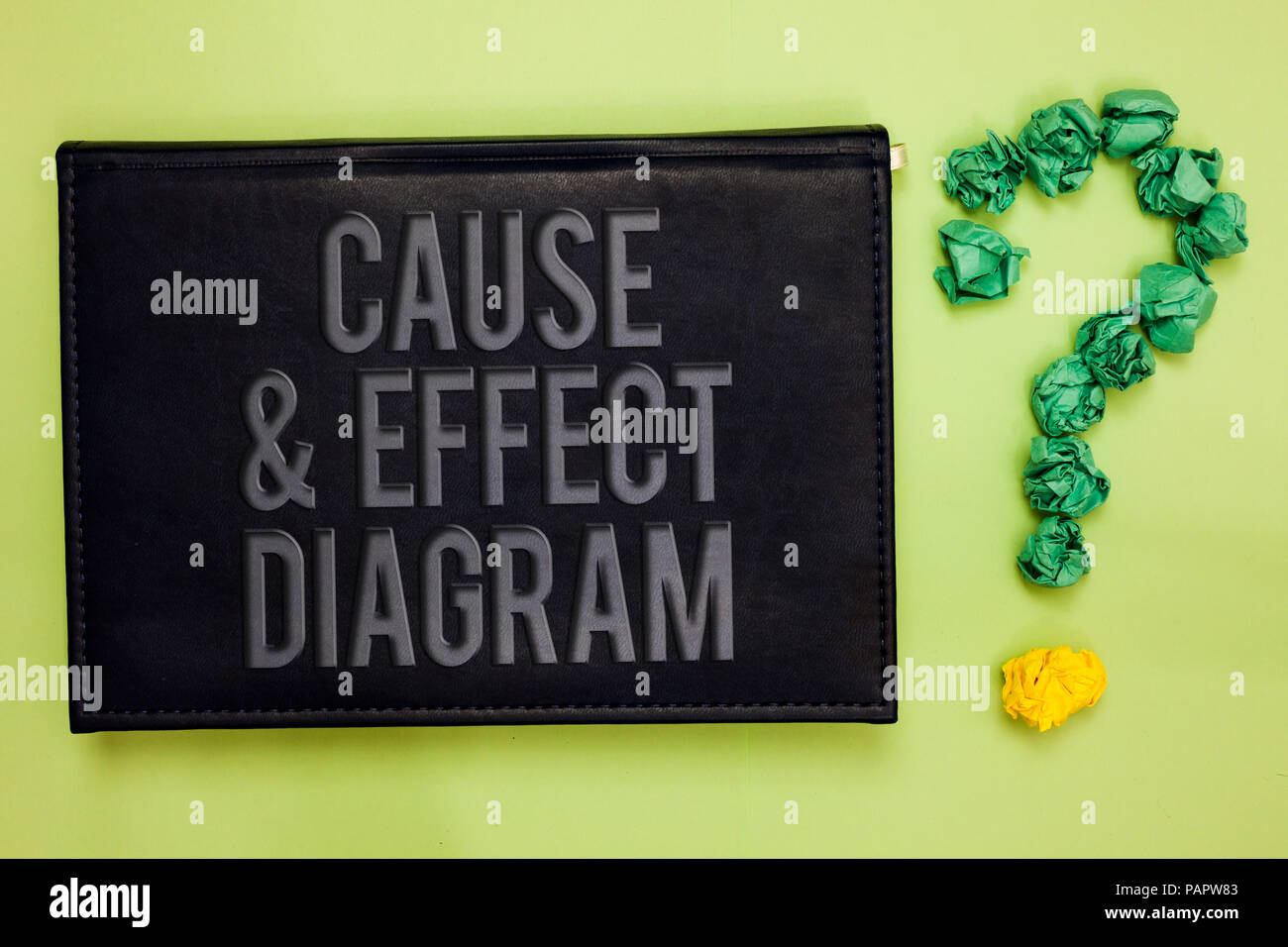 Word writing text Cause and Effect Diagram. Business concept for Visualization tool to categorize potential causes Green back black plank with text gr Stock Photo