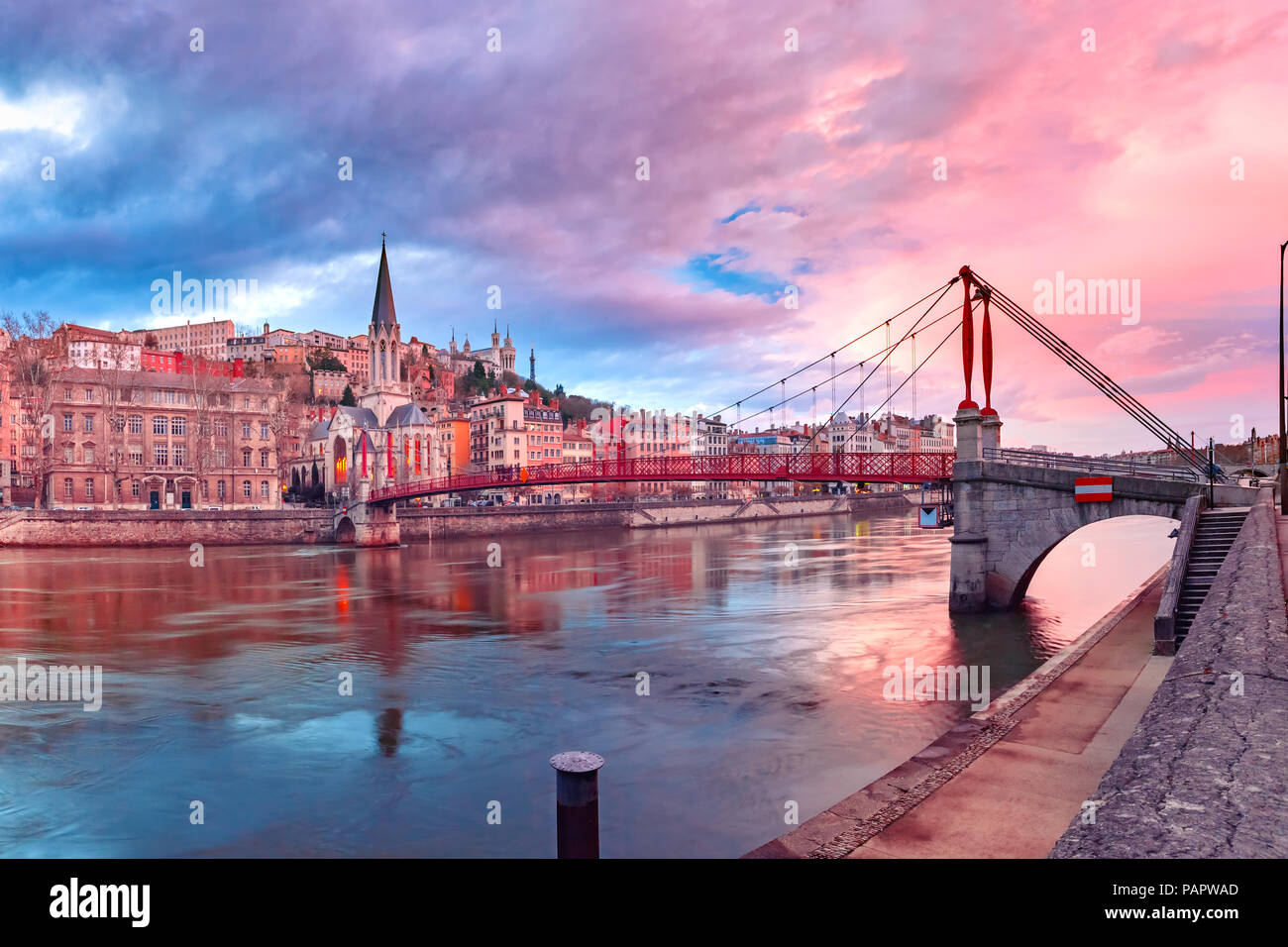 Old town of Lyon at gorgeous sunset, France Stock Photo