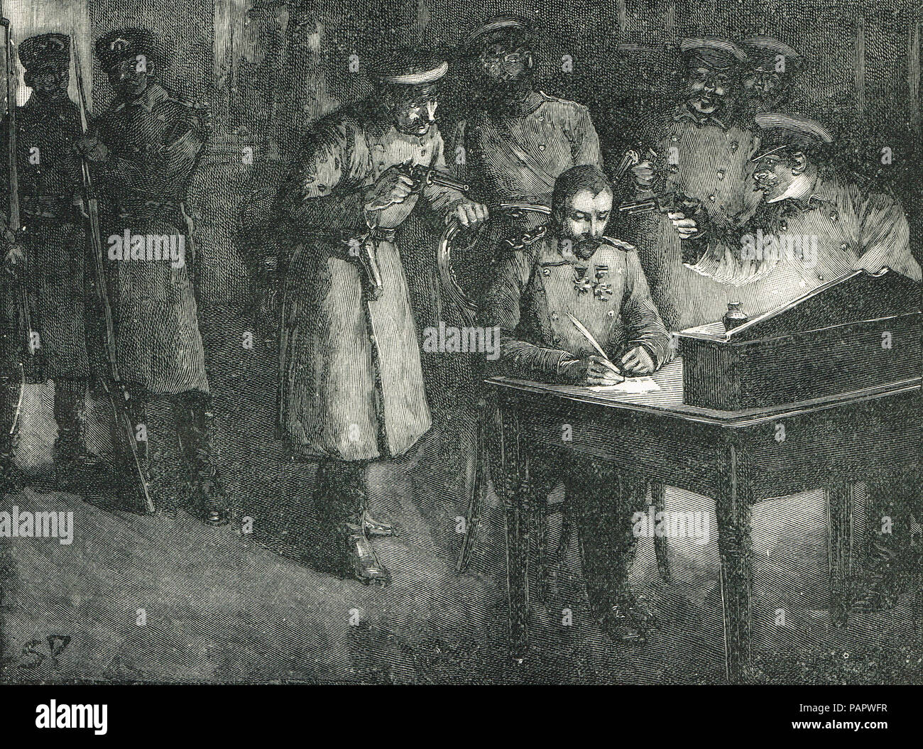 Alexander of Battenberg, Prince Alexander of Bulgaria, Signing his abdication,  palace at Sofia, 20 August 1886 - Stock Image